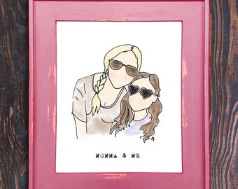 Personalized Watercolor Painting, Cuatom illustration, Mother's Gift, Mothers Day Gift, Mommy and Me Made to Order