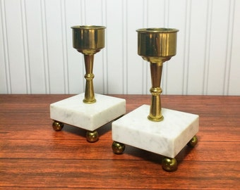 Vintage Brass Candleholders with Marble Bases - Set of Two