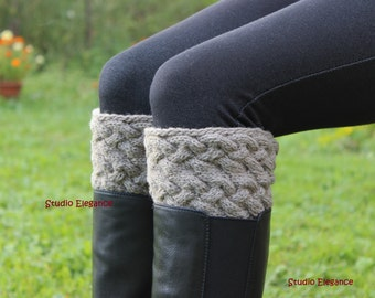 Boot cuffs, hand knit Boot cuffs, Boot Toppers,Leg Warmers, Wool Boot Cuff, Custom Color, Gift Wrapped
