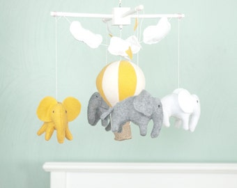 Elephant mobile, nursery mobile, baby crib mobile, hot air balloon mobile, grey and yellow baby mobile, neutral mobile, baby shower gift