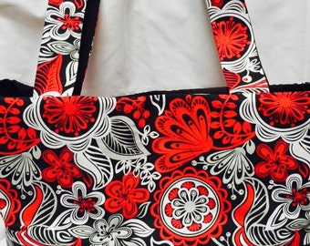 Red, white and black floral tote