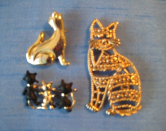Set of Cat Brooches!  Adorable