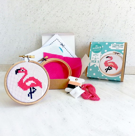 "Diy Modern cross stitch kit- cross stitch pattern- funny flamingo cross stitch kit- Cross Stitch Kit- 3"" Hoop - sewing - cute craft kit"