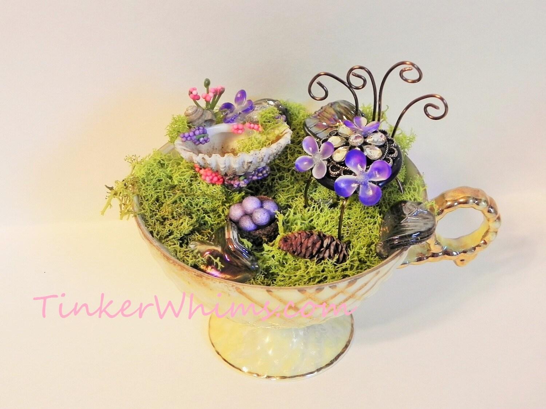 fairy teacup fairy garden miniature garden fairy furniture. Black Bedroom Furniture Sets. Home Design Ideas