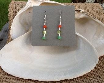 Seaglass Dangle Sterling Silver Earrings