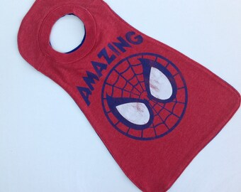 Baby Superhero t-shirt cape, superhero party cape, pullover red cape, infant cape, halloween cape.