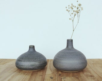stoneware teardrop vases set of two