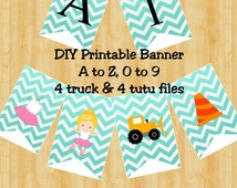 Trucks and Tutus Banner - Sibling Party Banner - DIY Printable Files - Instant Download