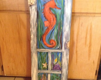 Seahorse Painted on old Window