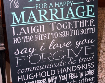 Rules for a Happy Marriage VINYL DECAL