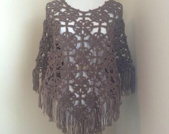 Handmade crochet lace poncho