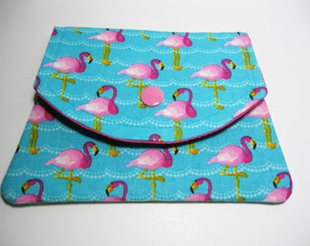 Womens Flamingo Fabric Wallet, Cotton Fabric Wallet, Credit Card Holder, Gift Card Holder, Business Card Holder, Under 20 Gift, Gift for Her