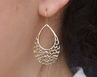 Teardrop Dangle Earrings, 14K Yellow Gold Plated Earrings