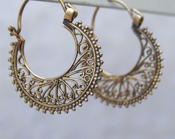 Bronze Earrings, Bronze Hoop Earrings, Ethnic Bronze Earrings, Tribal Earrings, Round Bronze Hoop Earrings with Spirals