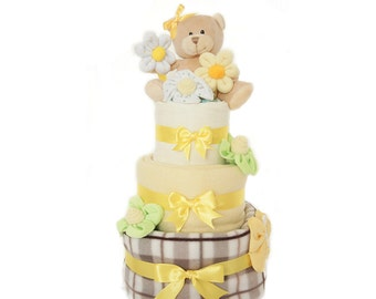 Happy Nappy Cake, baby gift, baby shower, centrepiece, teddybear, gift for baby, new mum gift, cake, nappies,