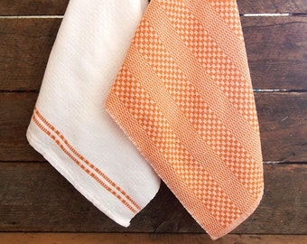 Handwoven dish towels – Extra large – Orange and white – Duo