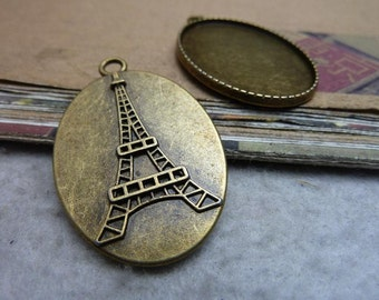10pcs 30x40mm Eiffel Tower Cameo Cabochon Base Setting Charms A