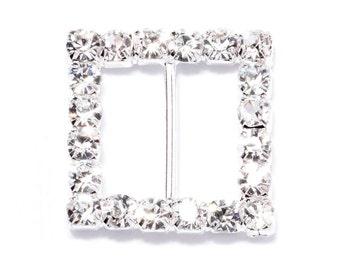 Individual Square Wedding Rhinestone Buckles, Invitation Ribbon Slider, Rhinestone Buckle, Wedding DIY Craft Supplies, Swarovski Crystal