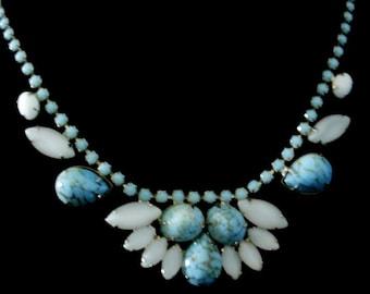 Vintage 1950s Czech Opaque Glass Statement Necklace