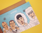 East 17 E17 Inspired Christmas Card from Full Colour Original Illustration Stay Another Day 90s Music Festive Xmas Funny Pun Pop Music