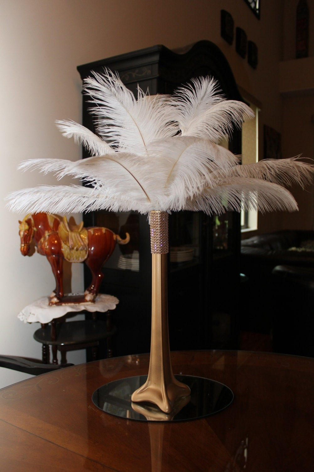 Ostrich feather centerpiece gold eiffel tower with