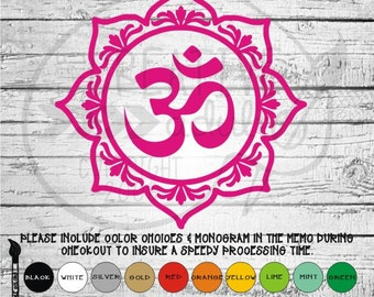 Lotus Ohm Decal - Available in variety of sizes and colors