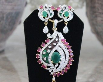 Emerald Green/Ruby Pink Cubic Zirconia/Theva Design Pendant Set with Two-tone Chain - #408.2011