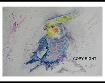 Original watercolor painting, Parrot with yellow head, 150141