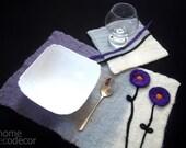 Felted wool Placemats Rectangle Place Mat Felt Placemats Modern Table Mats Lunch Mats Dinner Mats gray white Placemat Wedding Gift