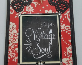 I'm Just a Vintage Soul collage, vintage look decor in red and black