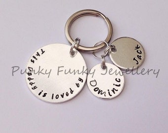 Fathers Day gift - Personalised keyring for Dad - This Daddy / Dad is loved by - Gift for Daddy - Daddy keyring - belongs to - Dad birthday