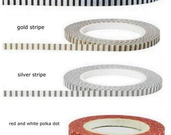 Thin Washi  Tape Samples 24  Inches  Stripes,Hearts,Polka Dots