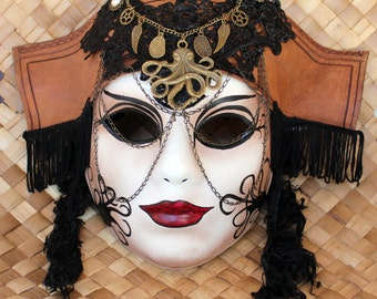 Steampunk Pirate Masquerade Mask with Leather Hat & Removable Necklace