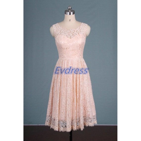 Champagne pink lace bridesmaid dress short 2016 women gowns for Champagne lace short wedding dress
