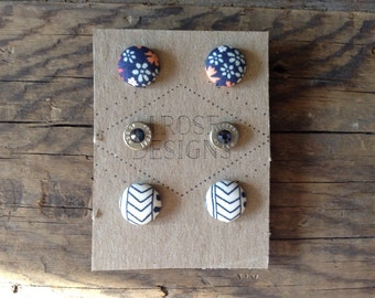 Buttons and Bullets Earring Posts Set - Navy Floral and Stripes
