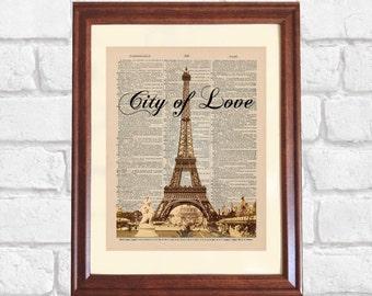 Paris Dictionary Print, City of Love Print, Eiffel Tower Print, Paris Decor, Paris Lover Gift, Paris Print on 5x7 or 8x10 Canvas Panel