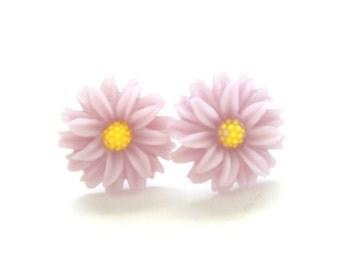 BOGO Sale - BUY 2 GET 1 Lilac Earrings - Sunflower Studs - 20mm Lilac Purple Sunflower Studs - Resin Hypoallergenic Earrings