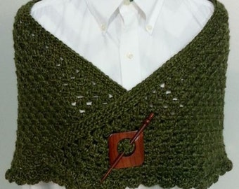 Country Cottage Shawl with Brooch