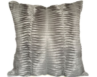 Grey pleated sham, Euro Pillow Sham, Grey euro sham, Grey sham, Grey pleated euro sham, 26x26 Grey sham, king sham covers