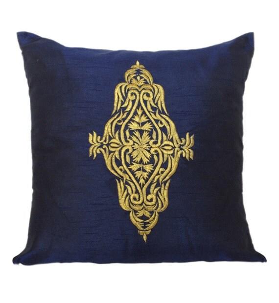 Dark Blue Decorative Pillows : Dark Blue Decorative Pillow Cover Damask by TheWhitePetalsDecor