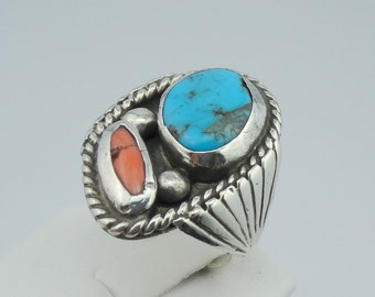 Traditional Southwest Native American Turquoise and Coral Sterling Silver Ring  #CORTUR-MS