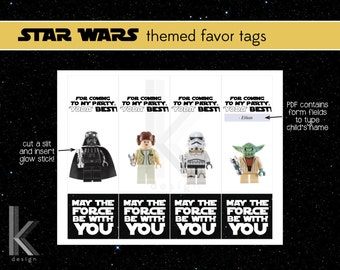 Star Wars Lego themed Light Saber (glow stick) Party Favor Tags, printable file, Instant Digital Download