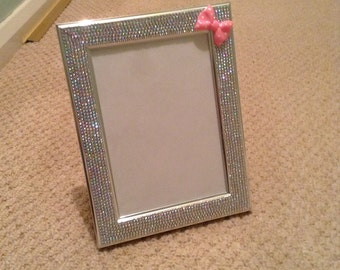 "7"" x 5"" silver AB Rhinestone photo frame"