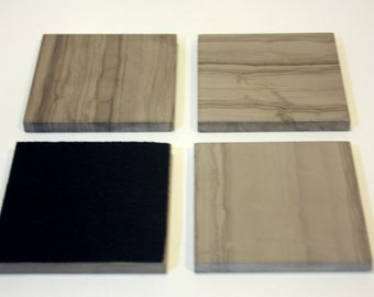 4 inch Silver Screen Marble Drink Coasters,1 set of four