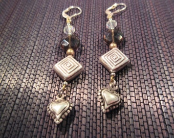 Sterling Silver Multi Stone Heart Earrings