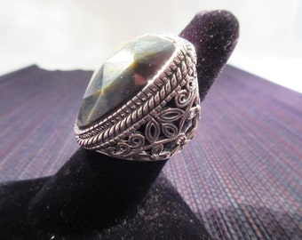 Large Sterling Silver Quartz Ring - Barse - size 8
