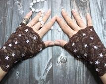 Kenodi // Fingerless gloves short brown glamour Victorian bohemian Burlesque Cosplay Costume Lolita Steampunk Noir Edwardian Noir wedding