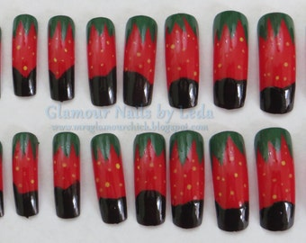 chocolate covered strawberry, fruit nail art, berry nail art, dessert nail art, full well nails, long nails, chocolate fruit, nail tips