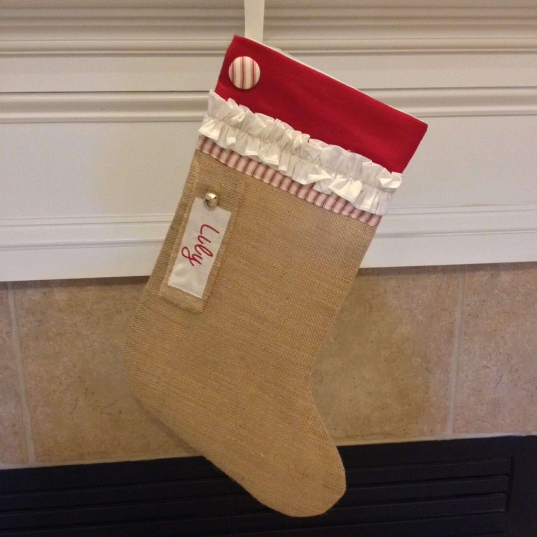 Personalized christmas stocking burlap christmas stockings for Custom made christmas stockings