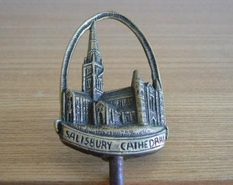 Brass Corkscrew Showing Salisbury Cathedral - dated 1938